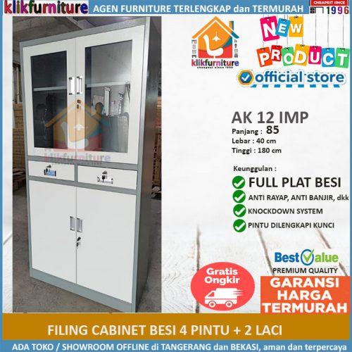 Lemari Arsip Filing Cabinet Besi 4 Pintu 2 Laci AK 12