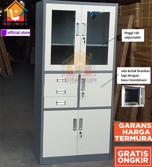Filing Cabinet Besi Lemari Arsip Kantor 4 Pintu 3 Laci AK 13