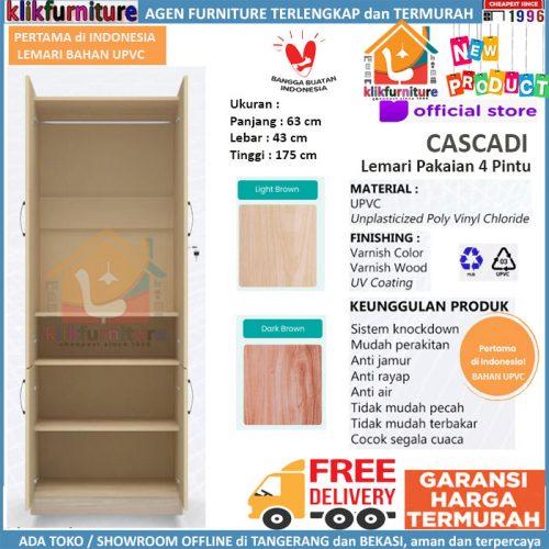 BARU Lemari Pakaian UPVC Pintu 4 Anti Rayap Jamur Air Karat CASCADI