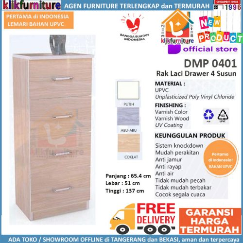 BARU Bahan UPVC Rak Serbaguna 4 Susun / Laci Drawer DMP 0401