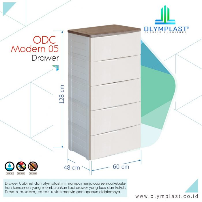 Lemari Plastik Olymplast ODC 05 M Modern 5 Laci