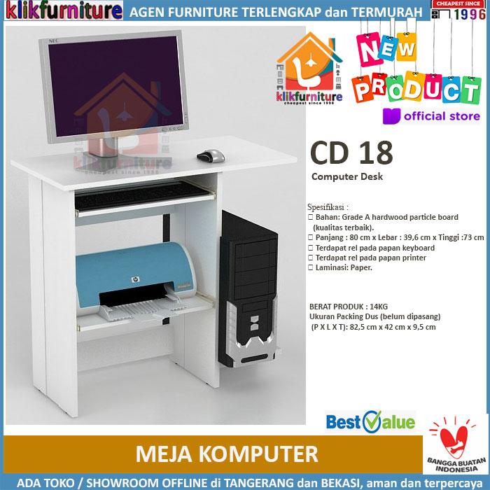 Meja Komputer / Meja Belajar / Computer Desk CD 18 Putih