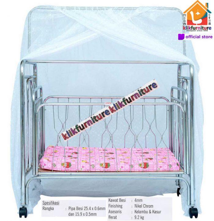 Baby Box / Ranjang Bayi Besi Ayun + Kelambu