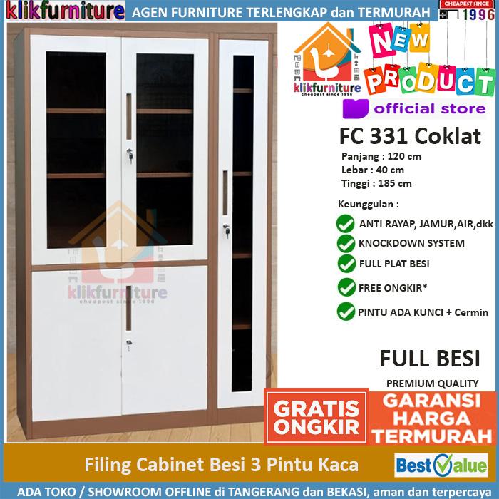 Lemari Arsip Filing Cabinet Besi 3 Pintu FC 331 Coklat