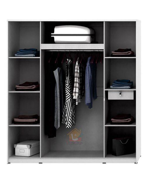 lemari pakaian putih minimalis 4 pintu