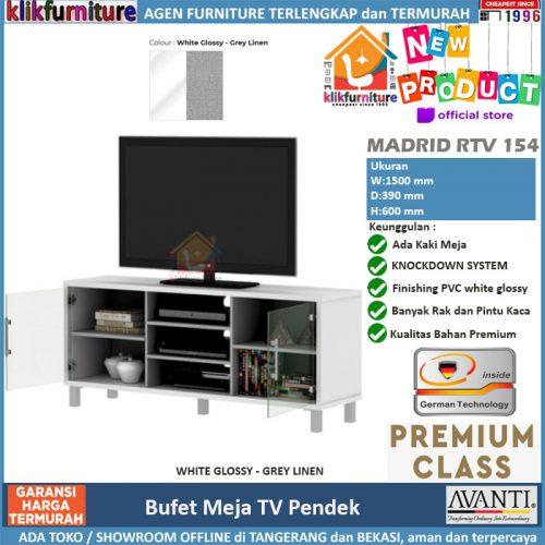 Bufet Meja Tv Rak Tv Minimalis Putih RTV 154 AVANTI
