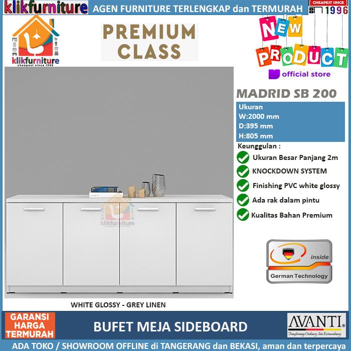 Sideboard Bufet Meja Samping Minimalis Putih SB 200 AVANTI