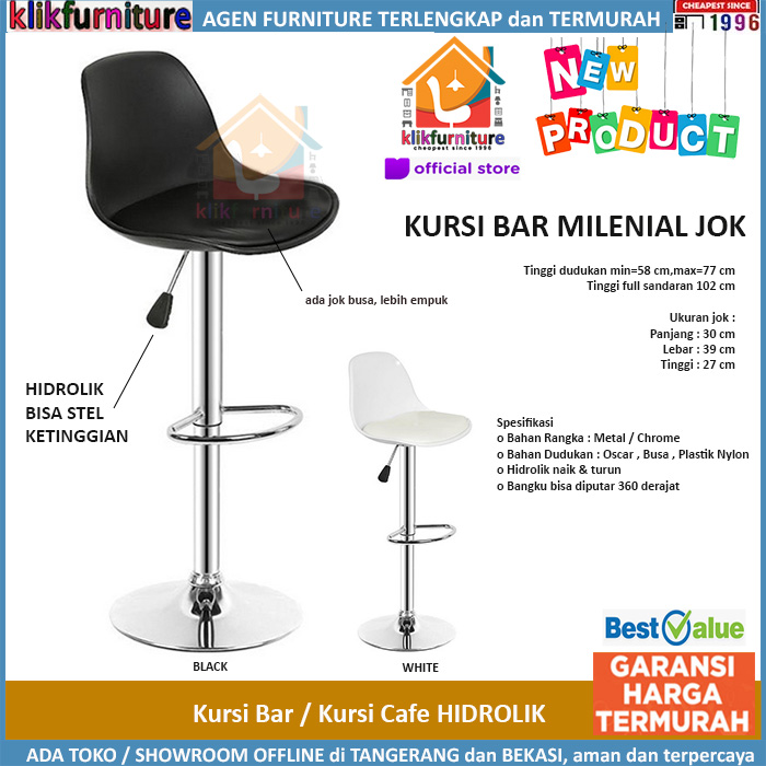 Kursi Bar Hidrolik Barstool Cafe Makan Minibar MILENIAL+Jok 115