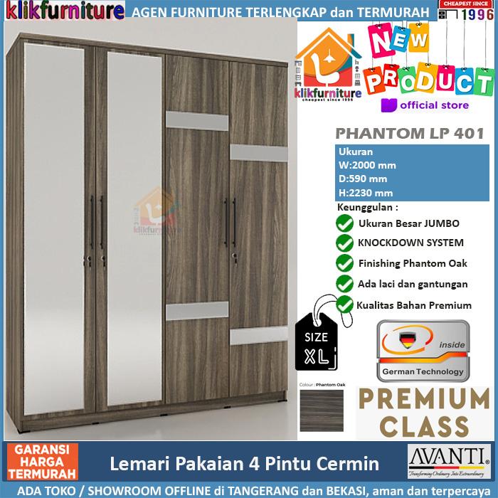 Lemari Pakaian 4 Pintu Jumbo + Cermin PHANTOM LP 401
