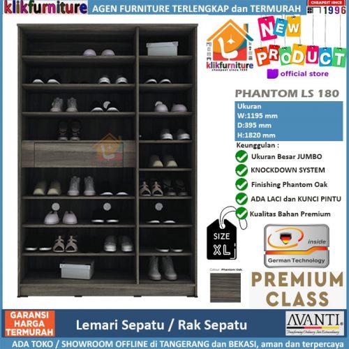 Lemari Sepatu Rak Sepatu 3 Pintu Jumbo PHANTOM LS 180
