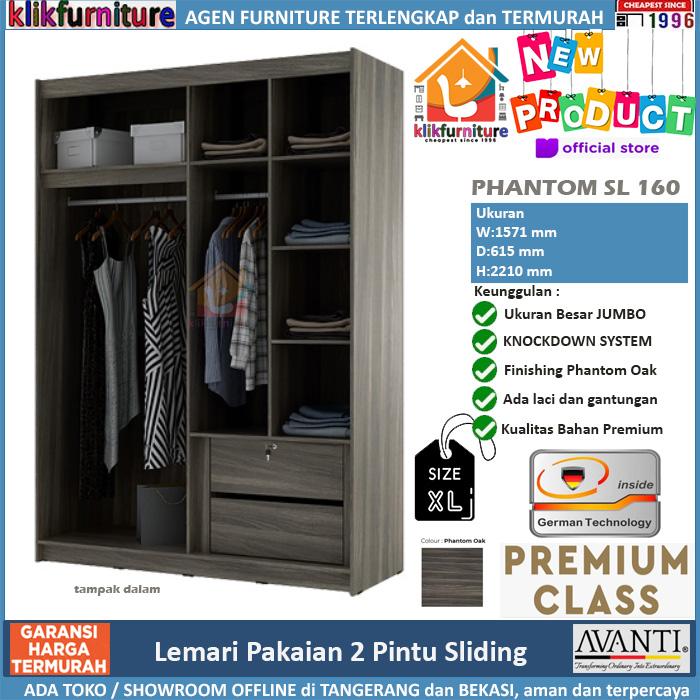 PREMIUM Lemari Pakaian Sliding Jumbo + Cermin PHANTOM SL 160
