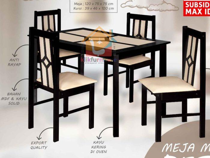 Set Meja Makan Minimalis Kayu 4 Kursi RICHMOND / VERMONT